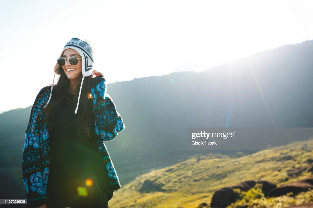 Woman on the top of mountains, in the sunset, in Nacional Park Serra dos Orgaos, Rio de Janeiro, Petropolis, Brazil : Stock Photo