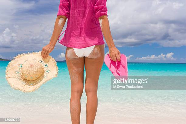 woman on tropical beach - thong bikini stock pictures, royalty-free photos & images
