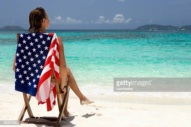 woman on vacation at the beach in American Virgin Islands