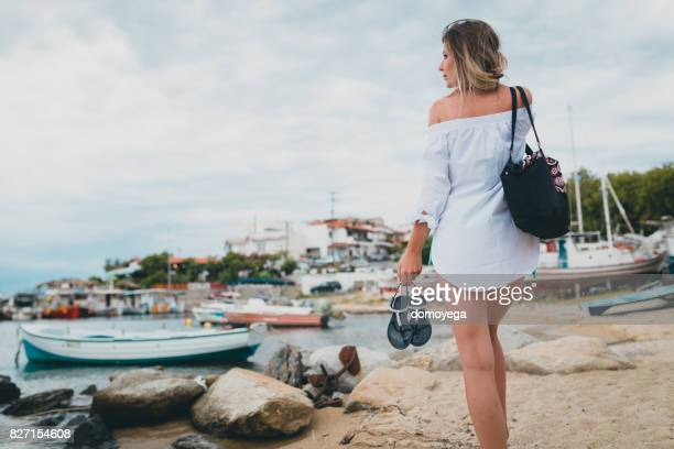 Woman on vacation in Greece