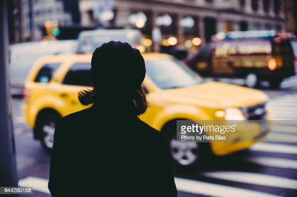 Woman on zebra crossing
