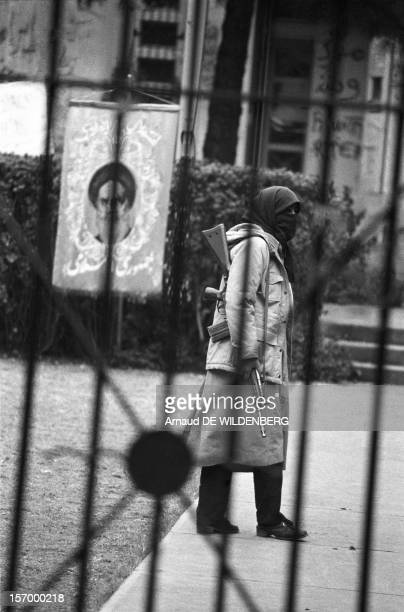 Woman one of the Iranian students kidnapper of 52 Americans held hostages during 444 days from November 4 1979 to January 20 1981 holding a gun in...