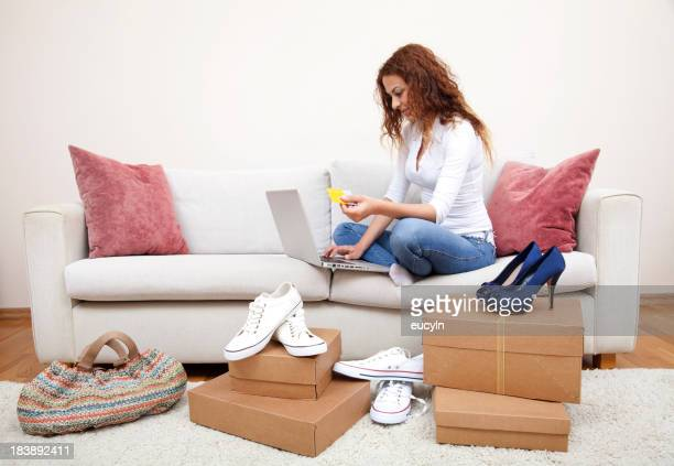 Woman online shopping for shoes
