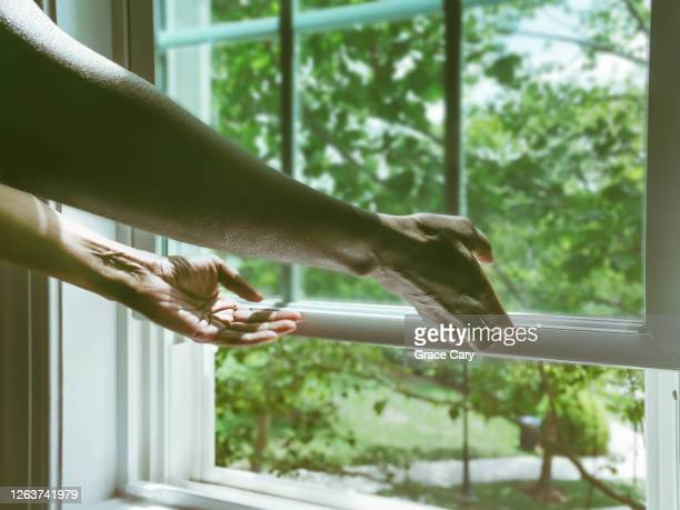 woman opens window for fresh air - open stock pictures, royalty-free photos & images