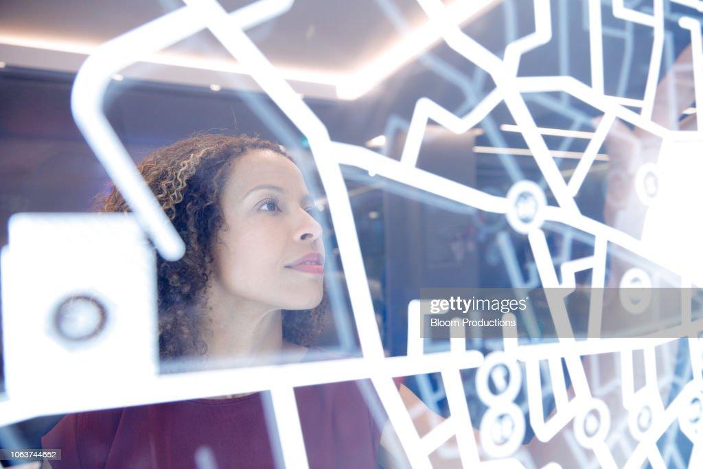 Woman operating digital interface technology : Stock Photo