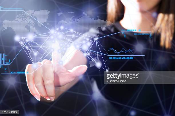 Woman operating the digital interface technology