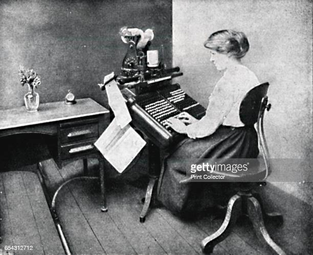 Woman Operator on Monotype Keyboard 1917 From The British Printer Vol XXX [Raithby Lawrence Co Ltd London and Leicester 1917] Artist Unknown