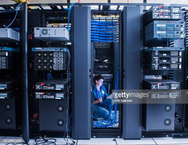 woman organizing cables in server room - network server stock pictures, royalty-free photos & images
