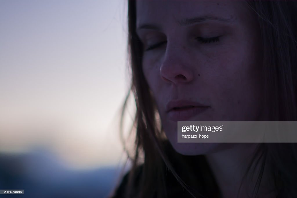 Woman Outdoors at Twilight : Stock Photo