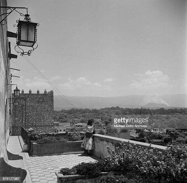 A woman over looks the landscape in Cuernavaca Mexico