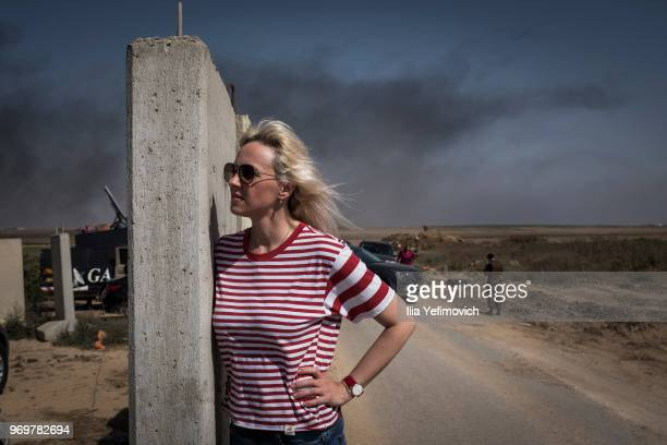 A woman over watching the border during long day of clashes on June 8 2018 in near Nahal Oz Israel Naksa is Arabic for setback Naksa Day is the...