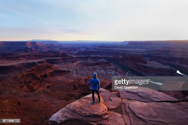 woman overlooking canyonlands, utah - dead horse point state park stock pictures, royalty-free photos & images