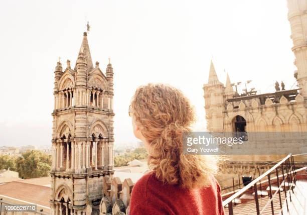 Woman overlooking city of Palermo