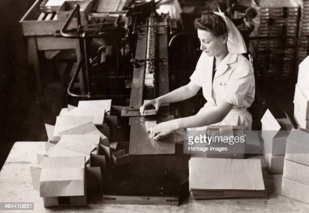 Woman packing Kit Kat into boxes Rowntree factory York Yorkshire 1949
