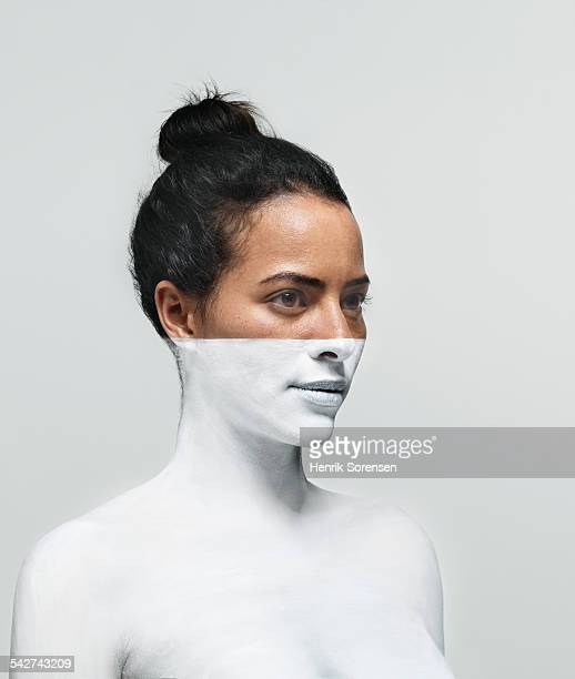 Woman painted white