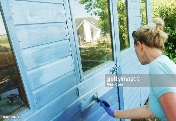 Woman painting shed blue