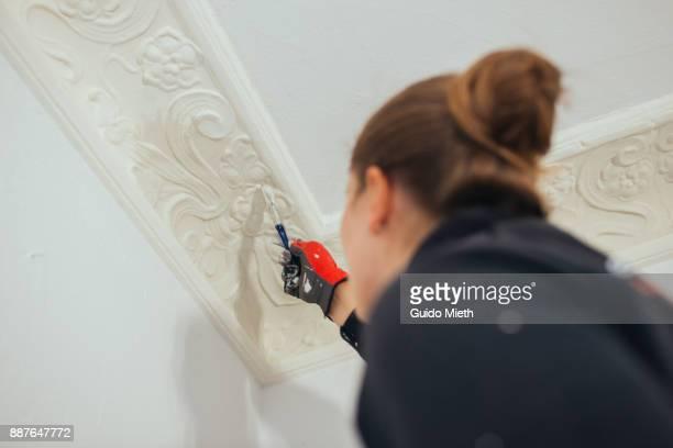woman painting stucco. - 化粧しっくい ストックフォトと画像