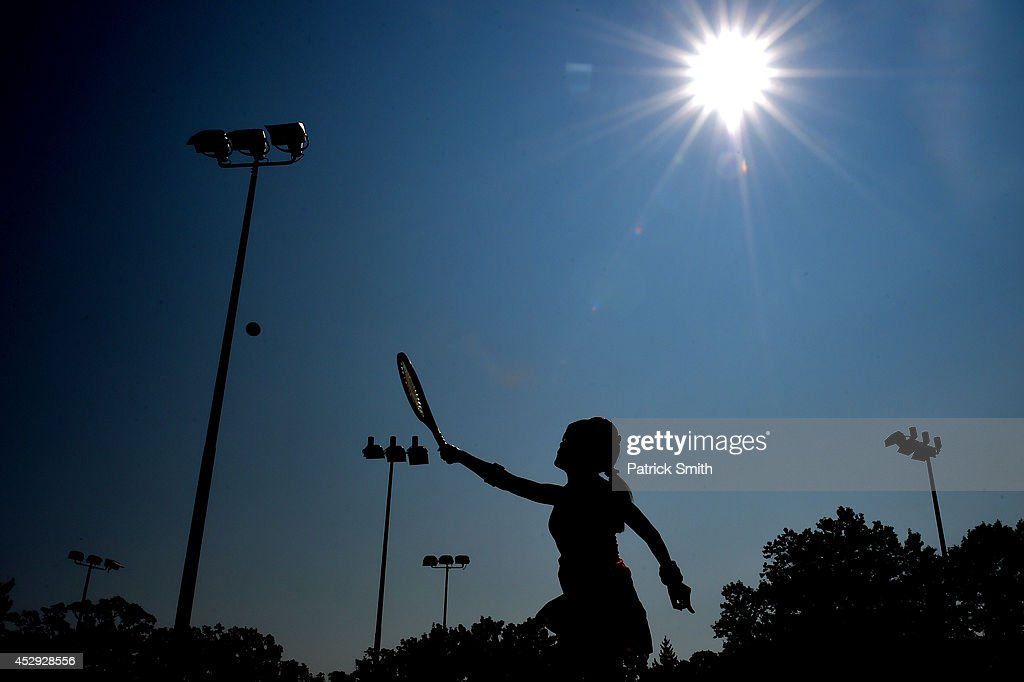 A woman participates in the Ladies Tennis Clinic led by Blue Chip Tennis Academy prior to Day 3 of the Citi Open at the William H.G. FitzGerald Tennis Center on July 30, 2014 in Washington, DC.
