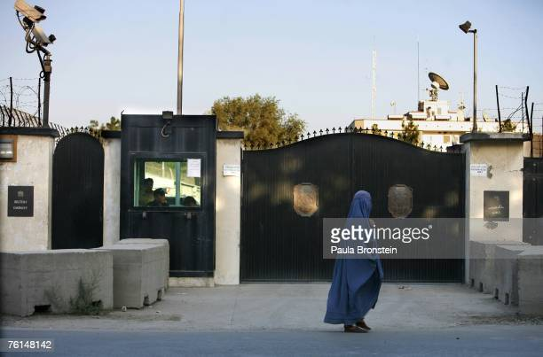 Woman passes the British Embassy August 17, 2007 in Kabul, Afghanistan.