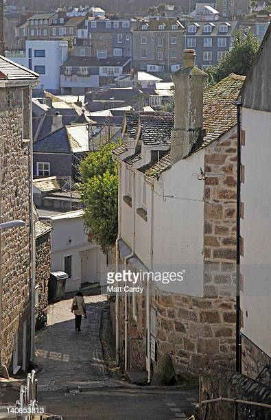 A woman passes the entrance to the Barbara Hepworth museum in the centre of St Ives on March 4 2012 in Cornwall England With only a few months to go...