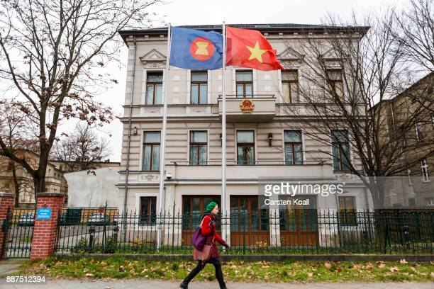 A woman passing by the Vietnamese Embassy on December 7 2017 in Berlin Germany According to German newspaper Sueddeutsche Zeitung evidence suggests...