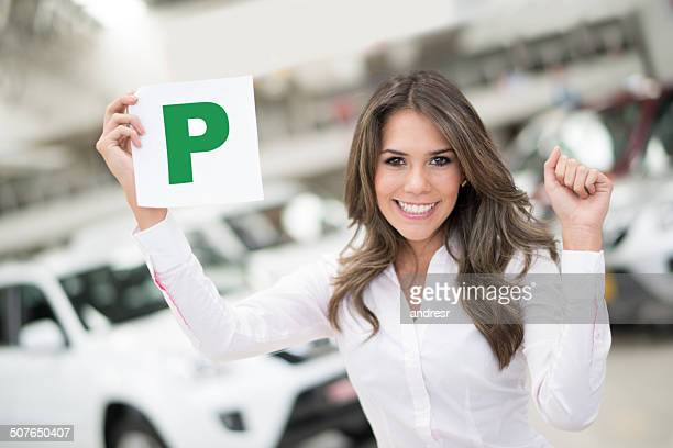 Woman passing her driving test