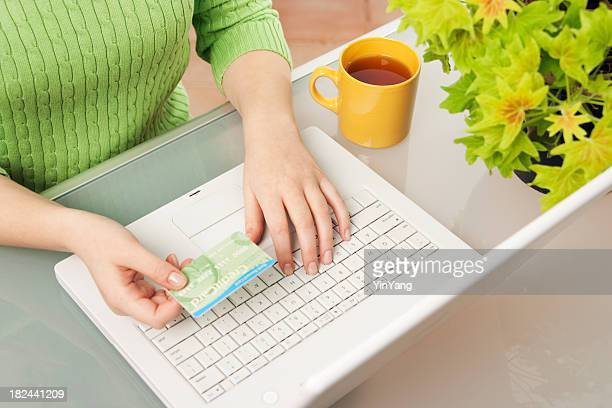Woman Paying Credit Card Bill, Doing Electronic Banking, Home Shopping