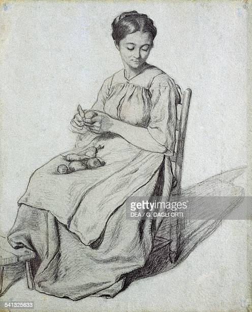 Woman peeling vegetables drawing by Antonin Richard France 19th century ChalonSurSaone Musée Denon