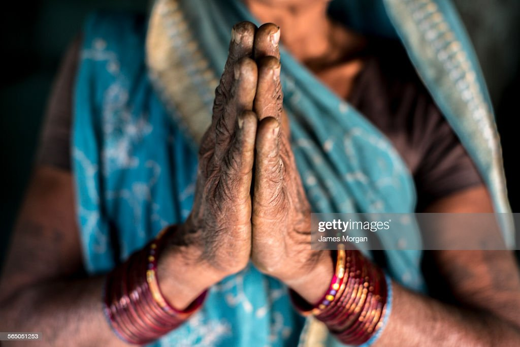 Woman performing a traditional greeting india stock photo getty images woman performing a traditional greeting india stock photo m4hsunfo