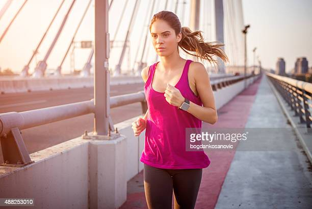 Woman performing cardio in the morning