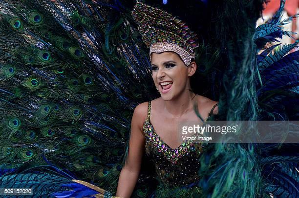 A woman performs during La Gran Parada de Fantasía as part of Carnaval de Barranquilla 2016 on February 08 2016 in Barranquilla Colombia