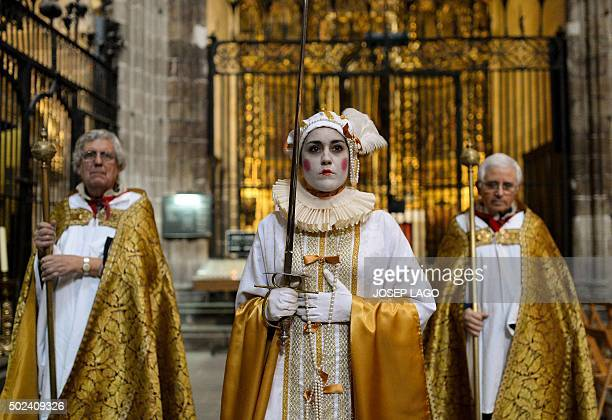 A woman performs 'El Cant de la Sibilla' during a rehearsal at Barcelona's cathedral in Barcelona on December 24 2015 The Chant of the Sybil declared...