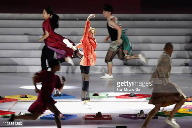 A woman performs onstage during the PyeongChang 2018 Olympic and Paralympic Winter Games 1st Anniversary Festival In Gangneung on February 9 2019 in...