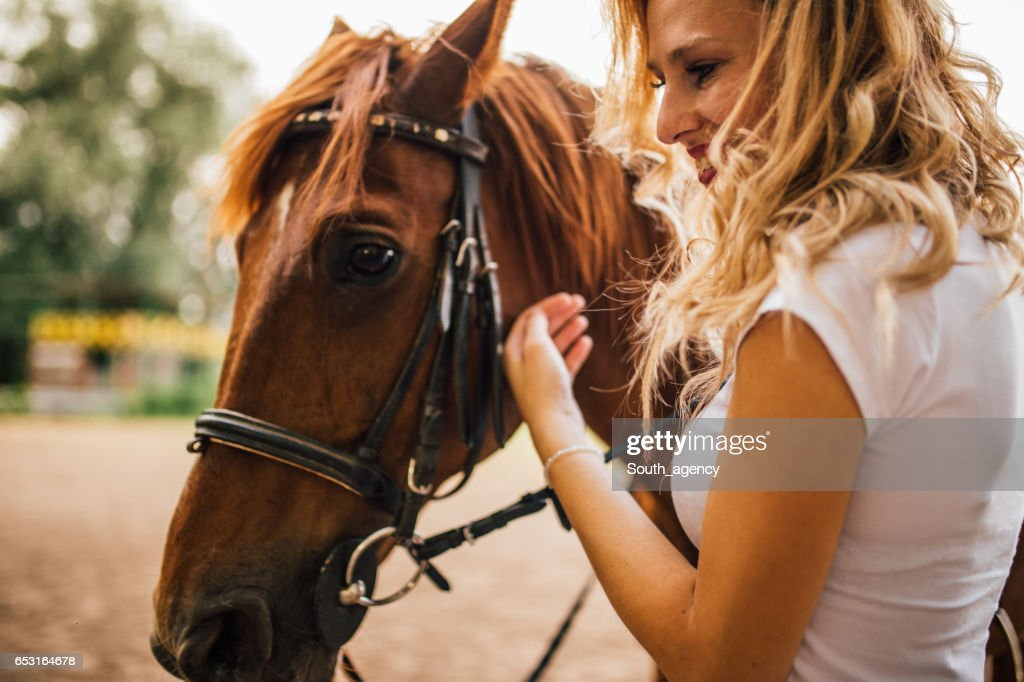Woman petting a horse : Stock Photo