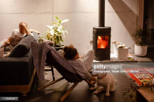 a woman petting her dog in front of a stove in a cozy living room while a man sitting in a sofa - hot couple photos et images de collection