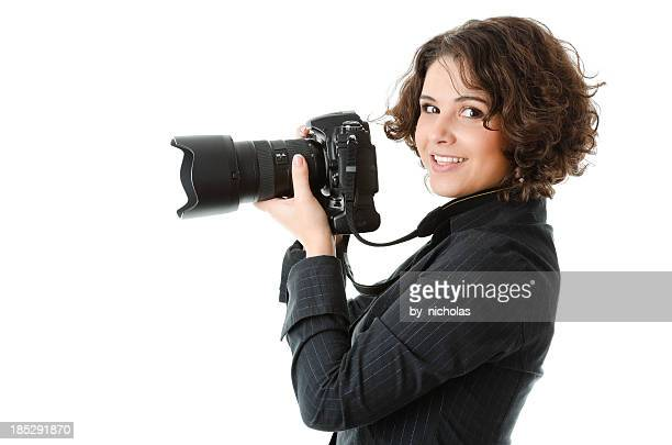 Woman photographer with camera, isolated on white