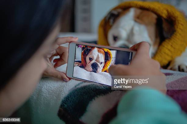 Woman photographing dog with camera phone