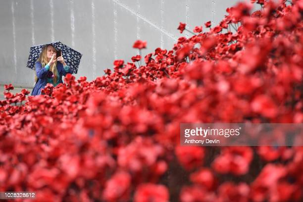 A woman photographs the iconic poppy sculpture 'Wave' as it opens at IWM North it's final presentation as part of 1418 NOW's UKwide tour of the...