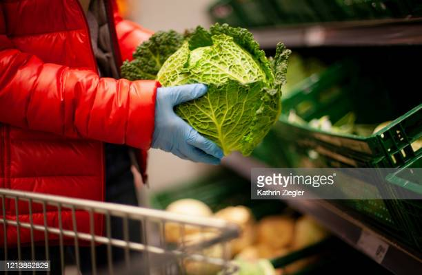 woman picking out savoy cabbage at the supermarket, wearing protective gloves - safety stock pictures, royalty-free photos & images