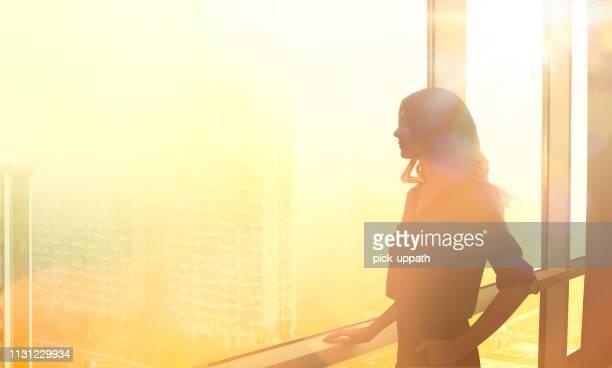 ceo vrouw - silhouet stockfoto's en -beelden