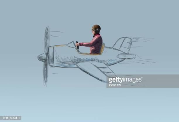 woman pilot in hand-drawn airplane - aviator's cap stock pictures, royalty-free photos & images