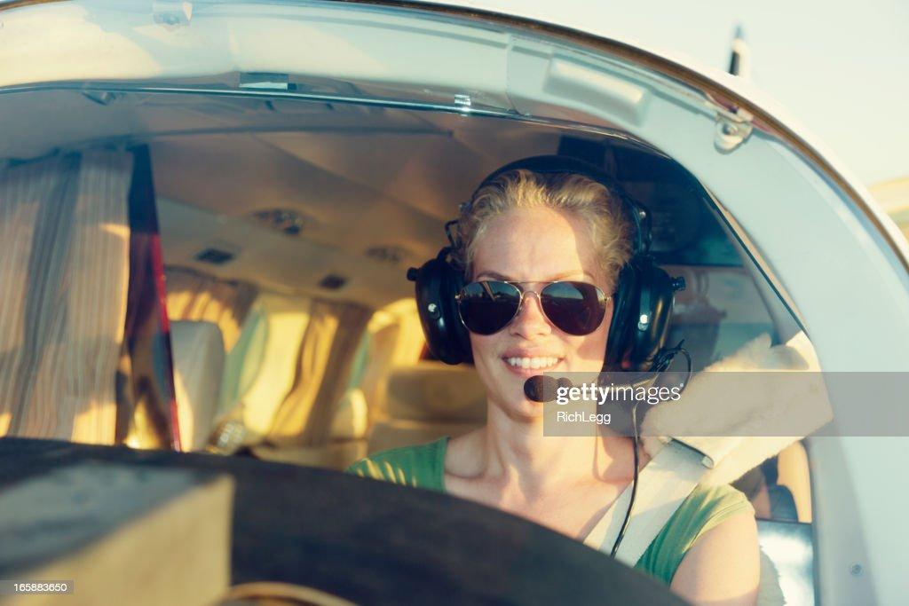 Woman Pilot : Stock Photo