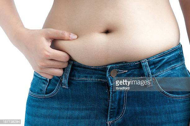 Woman Pinching Her Belly Fat