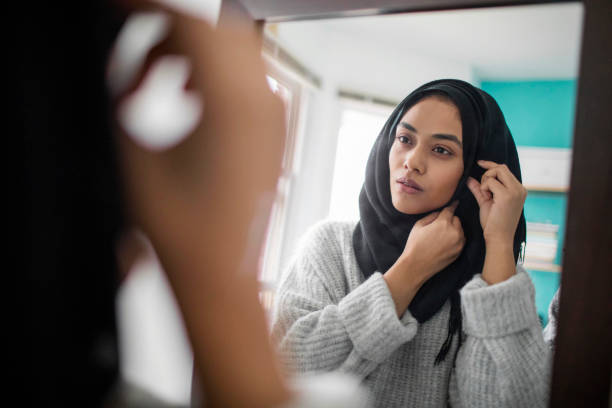 Woman Pinning Her Hijab