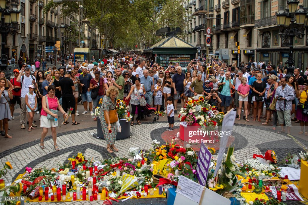 First Year Anniversary Of Barcelona Terror Attack In Las Ramblas Area