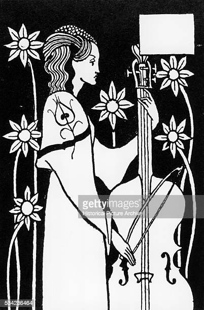 Woman Playing a Cello from Le Morte d'Arthur by Aubrey Beardsley