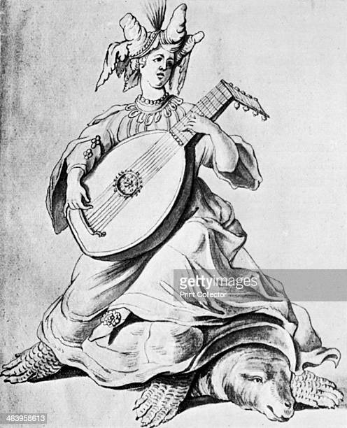 A woman playing a stringed instrument early 17th century Pencil drawing for a French costume ballet From Apollo magazine volume IV no 24 December 1926