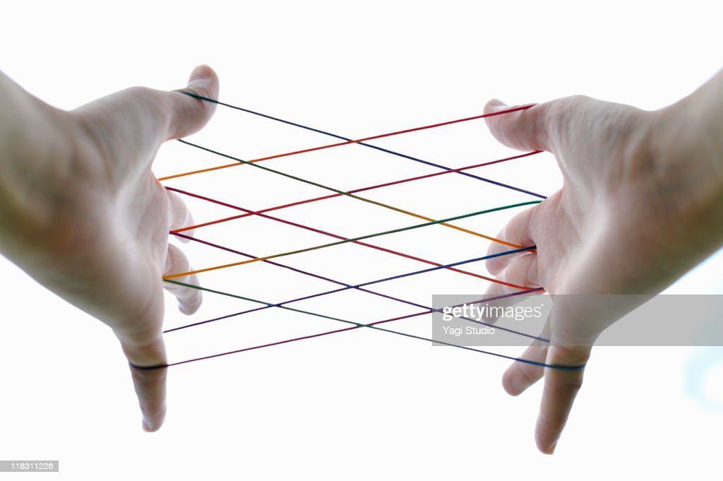 Woman  playing cat's cradle,close-up of the : Stock Photo