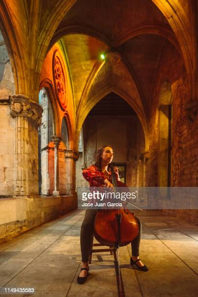 woman playing cello - soloist stock photos and pictures