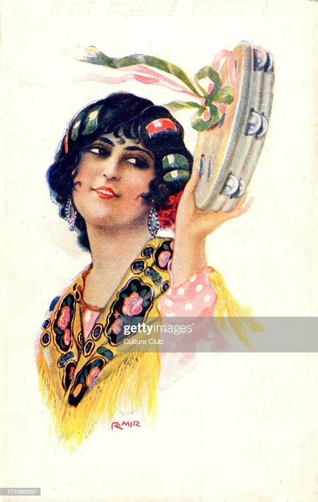 GYPSY woman playing TAMBOURINE : ニュース写真